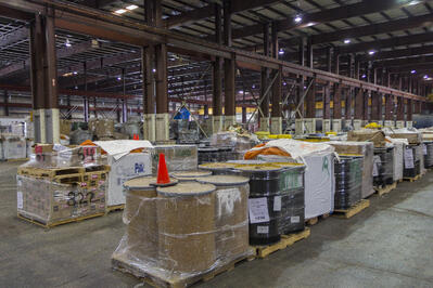 Waste is held in a CES warehouse, ready to be prepared for energy recovery.
