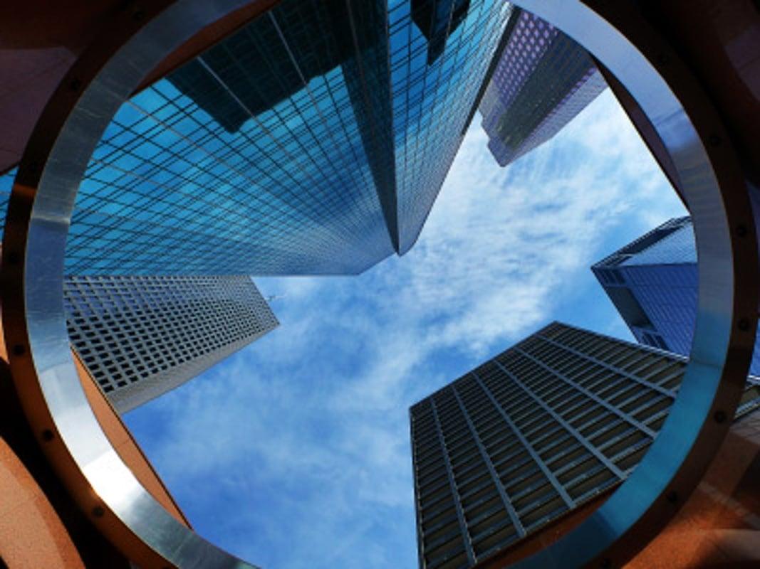 Circular View of Office Buildings