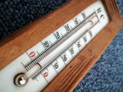 A thermometer filled with mercury