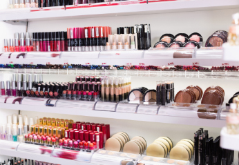 shelves of cosmetics in a beauty aisle