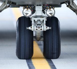 airplane wheels on the runway